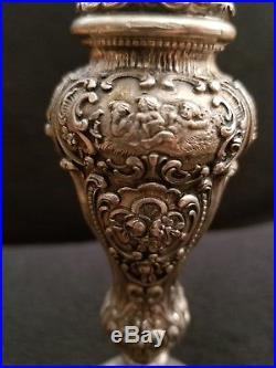 Rare Set Of Large Antique German 800 Silver Salt And Pepper Shaker