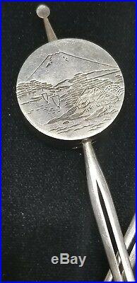Rare Vintage Japanese 950 Sterling Salt & Pepper Shaker Hairpin Set Mt Fuji