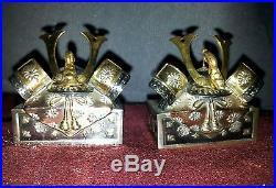 Rare! Vintage Japanese Sterling Silver Samurai Helmet Salt Pepper Shakers Set