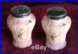 Rare antique PAIR of Mt. Washington salt pepper shakers, pink & cream, daisies
