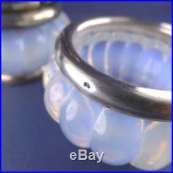 Refined Modernist Opalescent Glass Silver Condiment Set Pierre d'Avesn Salt