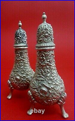 Repousse Antique S. Kirk & Son Sterling 4 1/2 Footed Salt & Pepper Shakers