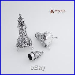 Repousse Salt Pepper Shakers Sterling Silver S Kirk and Son 1920