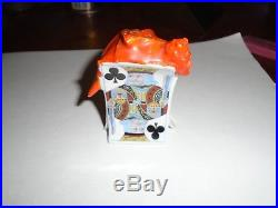 Royal Bayreuth Devil and Cards Salt Pepper Shaker Satan Porcelain Antique