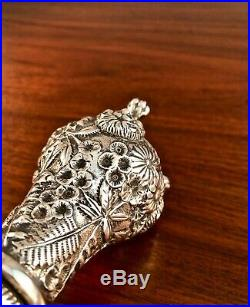 S. KIRK & SON STERLING SILVER REPOUSSE SALT & PEPPER SHAKERS With LION FEET #19