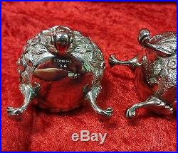 S KIRK & SON Sterling Silver Repousse Salt and Pepper Shakers MATCHED PAIR