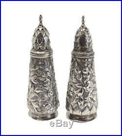 S. Kirk & Son Coin Silver Salt & Pepper Shakers Repousse, 11oz, circa 1860
