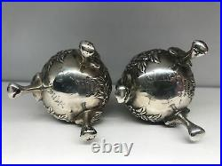 S. Kirk & Son Repousse Sterling Silver Salt & Peppers 3 Footed Beautiful