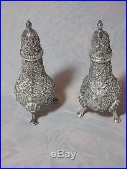 S Kirk & Son Sterling Silver Repousse Salt & Pepper Shaker Set #58