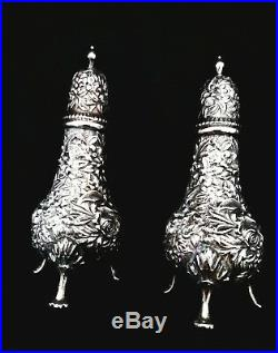 S. Kirk and Son Sterling Silver Repousse Salt and Pepper Shakers Set 4 1/2
