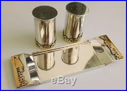 Sterling Silver Judaica Bier Jerusalem Salt & Pepper Shakers Set & Tray Rare