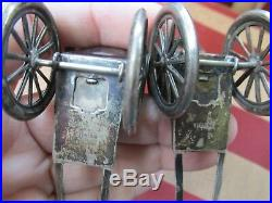 STERLING Silver RICKSHAW Salt & Pepper SHAKERS 1900's Useable Marked Tested 950