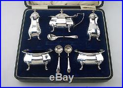 STYLISH ANTIQUE Silver CRUET SET Birmingham 1922 Henry Matthews- Cased -10oz
