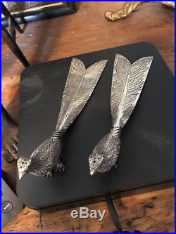 Sanborn Sterling Silver Peacock Birds Salt And Pepper Shaker 220 Grams