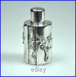 Set 7 Antique China Chinese Miniature Silver Prunus Salt Pepper Container 1900