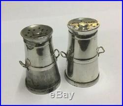 Set ANTIQUE Silver Novelty Milk Churn Shaped Salt & Pepper Pots 1901 Hallmarked