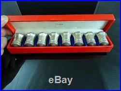 Set Of 8 Cartier Individual Sterling Silver Salt & Pepper Shakers Original Box
