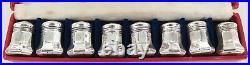Set Of 8 Vintage Cartier Sterling Silver Salt & Pepper Shakers Original Box