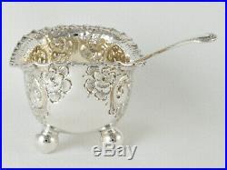 Set Of Three Victorian Silver Salts & Shell Bowl Salt Spoons Hm Sheffield 1896