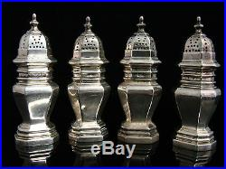 Set of 4 Antique 20th century English Sterling Silver Salt & Pepper Shakers