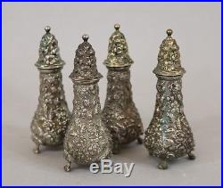 Set of 4 Stieff Sterling Silver Repousse/Rose 4 1/4 Salt & Pepper Shakers