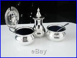 Silver Condiment Set with Liners, Birmingham 1965, Bishton's Ltd
