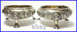 Silver Pair Antique Sterling Silver Salts 1863