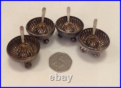 Silver Salts Victorian Cased Set, Four with Spoons, John Round & Son, Sheffield