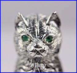 Silver Solid Cats Salt And Pepper With Emerald Eyes