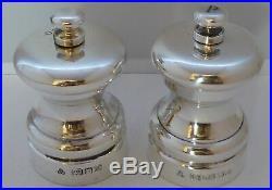Small Solid Hallmarked Silver Cruet Set Salt and Pepper Grinders Mills