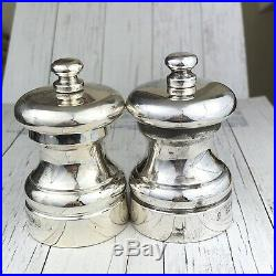 Solid Hallmarked Silver 2000 Cruet Set Salt and Pepper Grinders Mills