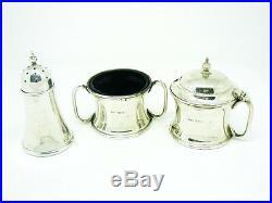 Solid Silver Condiment Set, Sterling, Cruet, Salt, Pepper Mustard Pot, HM 1910