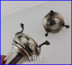 Solid Sterling Silver 3 Footed Salt & Pepper Shakers Victorian Mid Century. 925