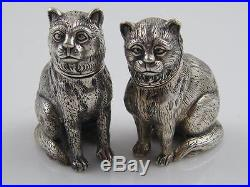 Sterling 925 Silver Salt & Pepper Shakers Cats