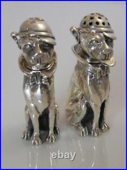 Sterling 925 Silver Salt & Pepper Shakers Dogs