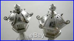 Sterling. 950 Japanese PAGODA and dragon patterned salt & pepper shakers