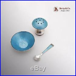 Sterling Guilloche Enamel Open Salt Dish Spoon Pepper Shaker Ela 1940 Denmark
