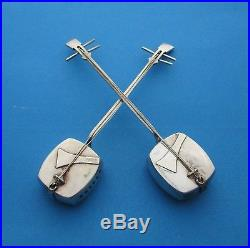 Sterling Silver. 950 Salt & Pepper Shakers Japanese Shamisen Musical Instruments