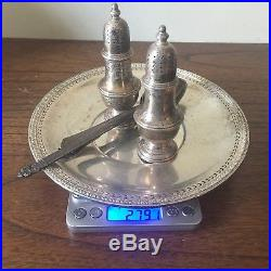 Sterling Silver Lot 279 Grams 1 Plate 3 Spoons Salt Pepper Shakers Marked