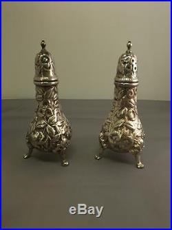 Sterling Silver Salt & Pepper Shakers in Repousse by S. Kirk & Son