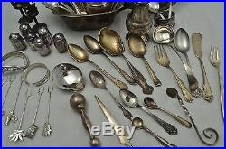 Sterling Silver Scrap or Resale Lot 1030 Grams Flatware Gravy Salt Shakers