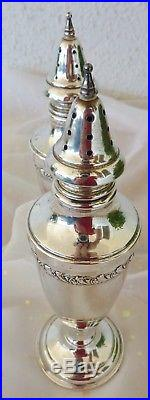 Sterling Silver Tall Salt Pepper Set Shakers Pedestal Silver Leaf Scroll Design