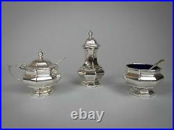 Sterling Silver Three Piece Cruet Set With Spoon by Ernest Druiff & Co, 1925