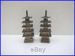 Sterling Silver Vintage Chinese Export Pagoda Temple Salt & Pepper Shakers #1