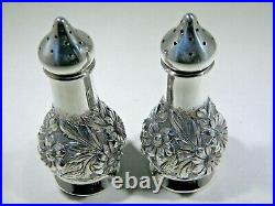 Stieff Rose. 999 Sterling Silver Repousse Salt & Pepper Shakers