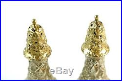 Stieff Rose Repousse Salt & Pepper Shakers 5 INCH Size Gilt Tops
