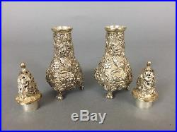 Stieff Rose Sterling Salt And Pepper Shaker Silver Repousse Footed Matching Set