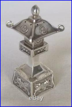 Stunning Pair Of Sterling Silver Chinese Pagoda Salt & Pepper Shakers