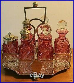 Supeb Cranberry Glass Victorian 6 Bottle Cruet