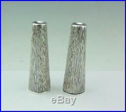 Super MID Century Hand Textured Bark Effect Solid Silver Salt & Pepper 1983